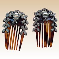 Antique Hand cut Jeweled Hair Combs for Bebe or Fashion Doll