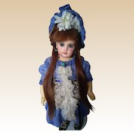 Rare Petite Sized Blue Eyed French Bisque Bebe Jumeau Depose EJ