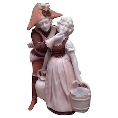 Signed German Sculpture of French Soldier with Maiden under Display dome.