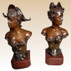 Franz Iffland, German (1862-1935) Pair of Art Nouveau Bronze Busts on Bases
