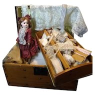 """Antique Trunk Full of Antique French Lace and 11"""" ED French Bisque Bebe Doll"""