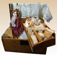 "Antique Trunk Full of Antique French Lace and 11"" ED French Bisque Bebe Doll"