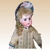 "French Bisque Bebe ""Le Parisien"" by Steiner with Rare Sleep Eyes Antique Dress"