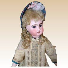 """French Bisque Bebe """"Le Parisien"""" by Steiner with Rare Sleep Eyes Antique Dress"""