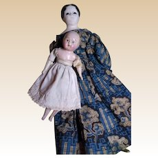 Papier Mache and Wooden Sonneberg Motschmann Taufling Baby with German Papier Mache Young Girl with Glass Eyes