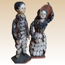 Early German or French Shell Dolls with Personality!