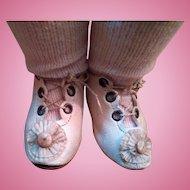 Excellent Antique White Bebe Shoes