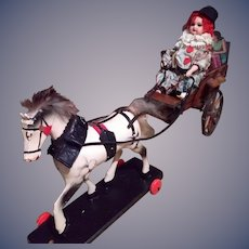 Wonderful pull toy- French Clown going to Circus
