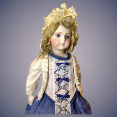 Pretty Bebe dress with Fine cutwork, Deep sapphire Blue color. Embossed Jacket.