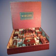 All Original! Set of German Wooden Art Nouveau Dollhouse Furnishings in Original Box