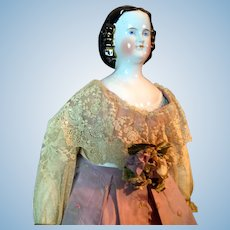 "Majestic 26"" German Porcelain Lady with Snood-Decorated Sculpted Hair"