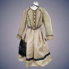Large Antique Fashion Dress with Antique fan