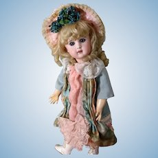 Pale Green and Shell Pink Bebe dress with matching Hat