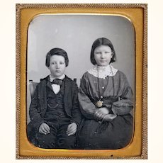 Charming Daguerreotype of Named Brother & Sister in Mat Frame, Hand-Coloured, c1850s