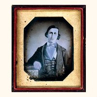Interesting Daguerreotype of a Gentleman with Guard Chain, mid-19th Century