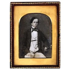 Crisp Ambrotype of a Gentleman Wearing a Guard Chain and Probable Watch, Some Tinting, c1860