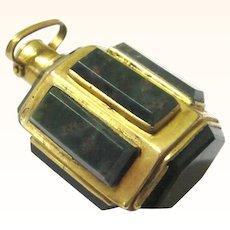 Rare Bloodstone & Gilt Metal Hexagonal Perfume Bottle for Chain or Chatelaine, 18th Century