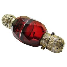 Attractive Double Ruby Glass & Gilt Metal Perfume/Smelling Salts Bottle, Victorian
