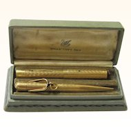 """Boxed """"Swan"""" Gold-filled Pen & Pencil Gift Set, c1924"""