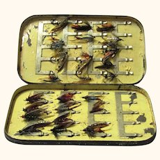 Black Tole Malloch's Patent Box Holding Multiple Intricate Flies for Fishing, c1900