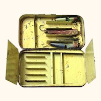 Black Tole Box for Fishing Lures with Lures & Multiple Compartments, Hardy Bros, c1915