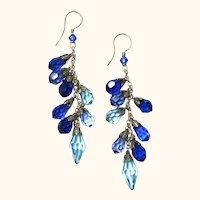 Pair of Pretty Silver & Austrian Crystal Earrings, Vintage