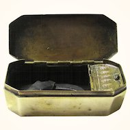 Complete Dutch Brass Tinder Box with Two Compartments with Large Steel & Flint, late 18th – early 19th Century
