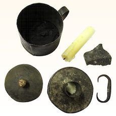 Complete Early American Tinderbox & Candle Holder with Flint, Steel, Tinder & Damper, late-18th Century