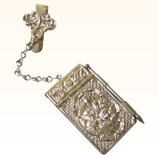 """Delightful Silverplate Notebook Chatelaine, Sir Joshua Reynolds """"Angel's Heads"""", Provenance, early 20th Century"""