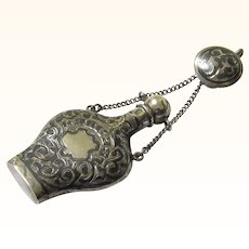 Complete Russian Silver & Niello Perfume Bottle Chatelaine, c1908