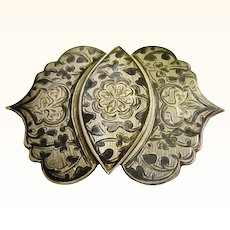 Elegant Russian Silver & Niello Belt Buckle, late 19th Century