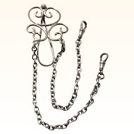 Classic Scrolled Sterling Silver Chatelaine with Two Chains, c1900