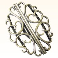 Stylish Scrolled Sterling Silver Belt Buckle, Chester, c1898