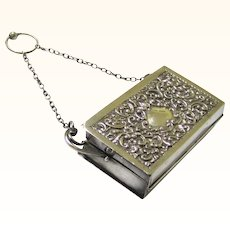 Pleasing Small Silverplate Finger Ring Purse Chatelaine, early 20th Century