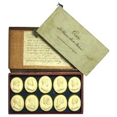 Fascinating Regency-era Souvenir Boxed Set of Plaster Depictions of Famous People, Tommaso Cades