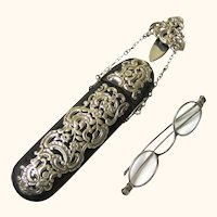Stunning Shell & Sterling Silver Complete Spectacle Chatelaine with Glasses, George Unite, c1876