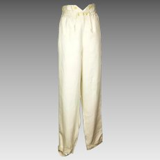 Rare Gentleman's Cream Fall-front Cotton Trousers, Regency
