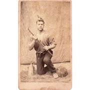 Intriguing Occupational Carte de Visite of Mexican Miner Wearing Watch Chain