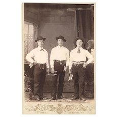 Interesting Occupational Cabinet Card of Three Musicians wearing Watch Chains, American, late 19th Century