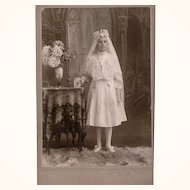 Cabinet Card of Charming Girl at her First Communion wearing Watch Chatelaine & Cross, late 19th Century