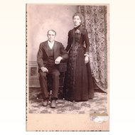 Wedding Cabinet Card depicting Couple with Lady Wearing Guard Chain & Watch in a Pocket, American, c1885