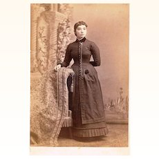 Sepia Cabinet Card of American Lady with Guard Chain & Watch Pocket, late 19th Century