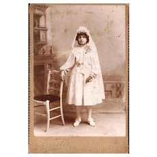 Cabinet Card of Young Girl dressed for her First Holy Communion with Guard Chain, Watch & Bible