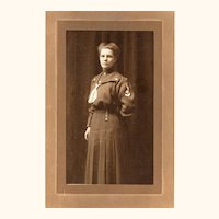 Interesting Photograph of Woman in Service Uniform wearing Fob Chain at the Waist, early 20th Century