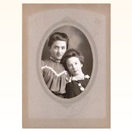 Appealing Photograph of Two Young Girls wearing Brooch Watch Chatelaines, American, late 19th Century
