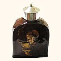 Royal Doulton & Sterling Silver Kingsware Tea Caddy featuring Elderly Lady Drinking Tea, c1906