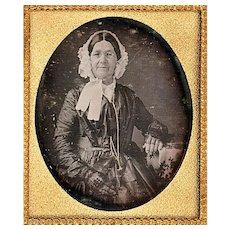 Coloured Cased Daguerreotype Depicting Fashionable Elder Lady, c1855