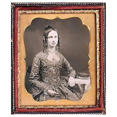 Gorgeous Daguerreotype of Seated Young Lady with Fine Guard Chain, Pencil & Possible Watch, c1855