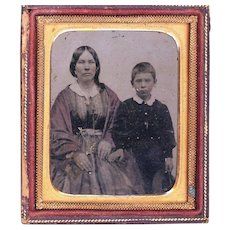 Hand-coloured Ambrotype Depicting Mother & Son, c1850