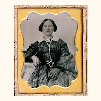 Attractive Ninth Plate Ambrotype of Bejeweled Mid-19th Century Lady with Interesting Hairstyle